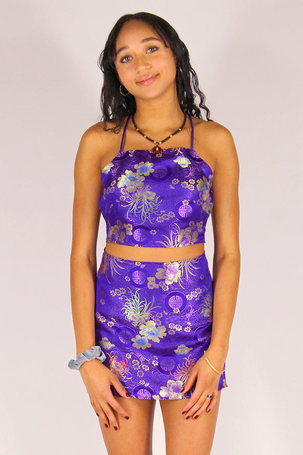 Backless Crop Top - Purple Satin with Flowers