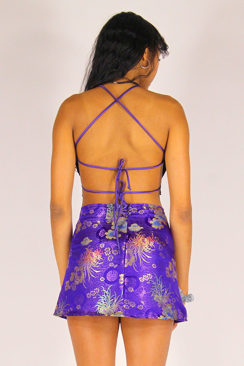 Backless Crop Top and Skirt - Purple Satin with Flowers