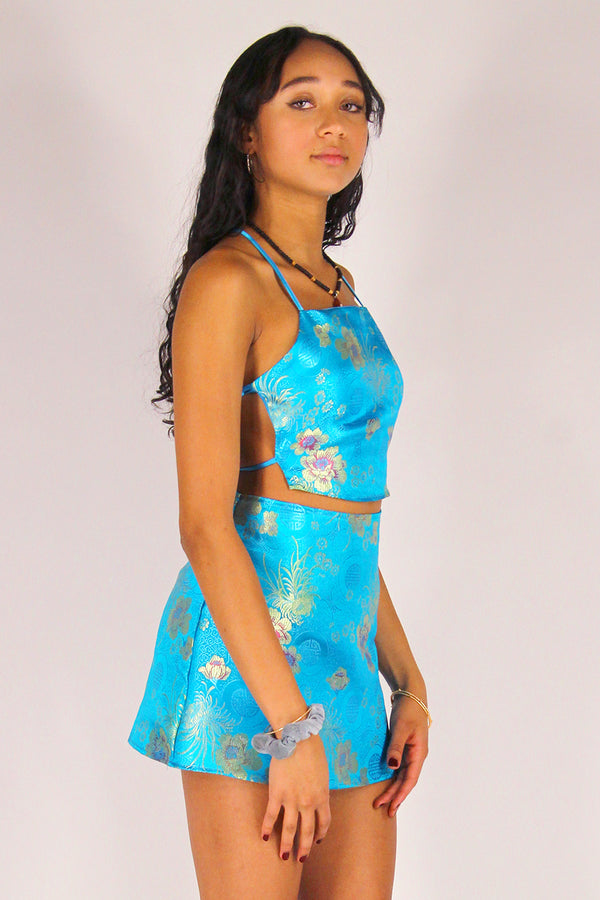 Backless Crop Top - Turquoise Satin with Flowers