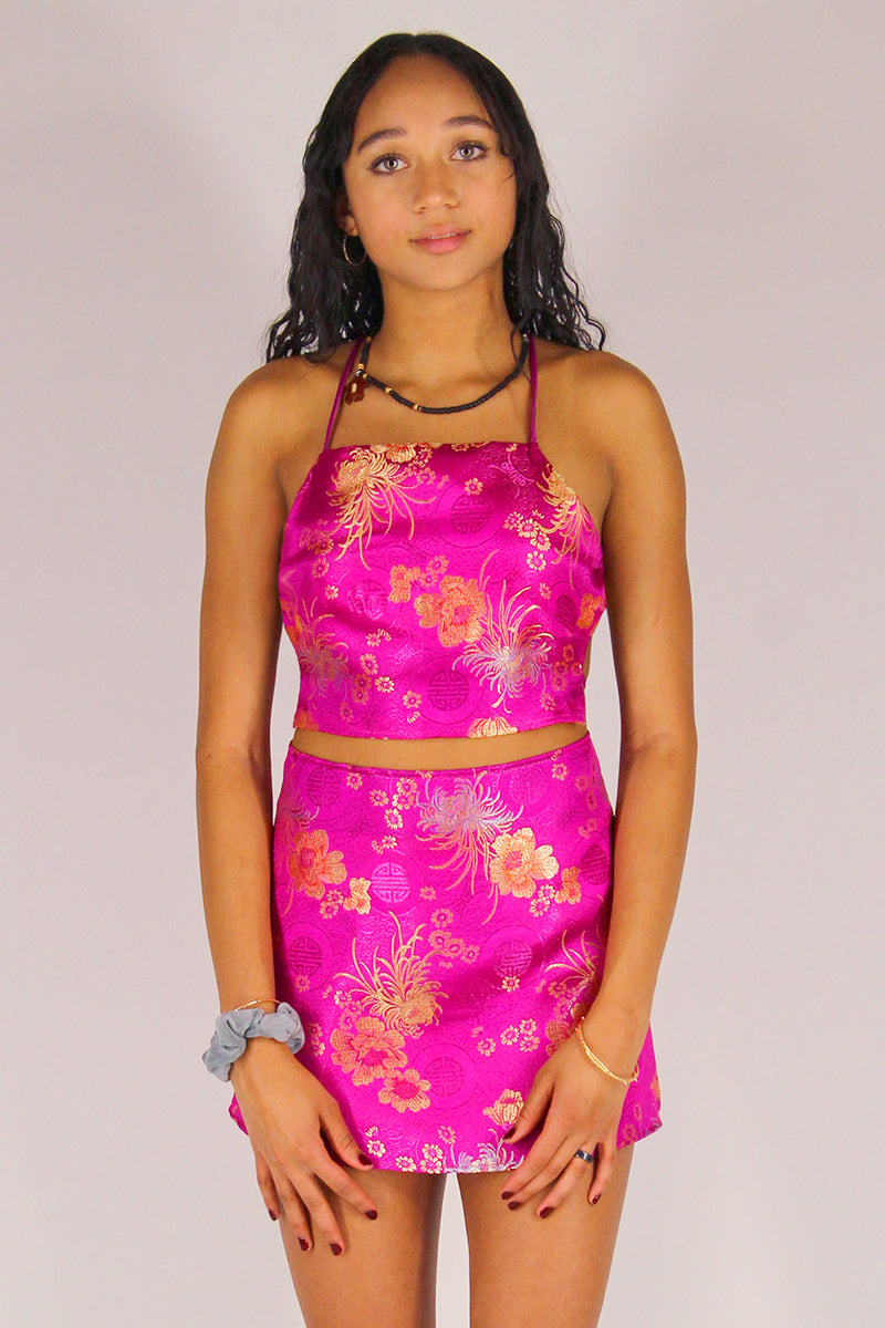 Backless Crop Top - Fuchsia Satin with Flowers