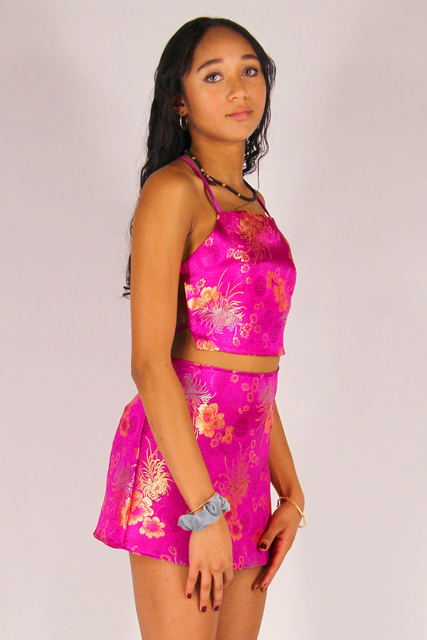 Backless Crop Top and Skirt - Fuchsia Satin with Flowers