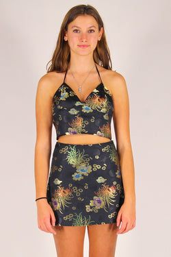 Bralette Crop Top - Black Satin with Flowers