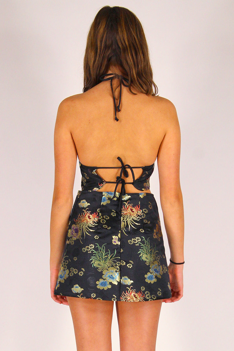 Bralette and Skirt - Black Satin with Flowers