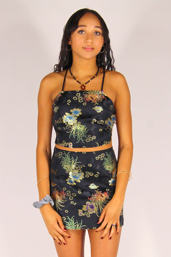 Backless Crop Top - Black Satin with Flowers