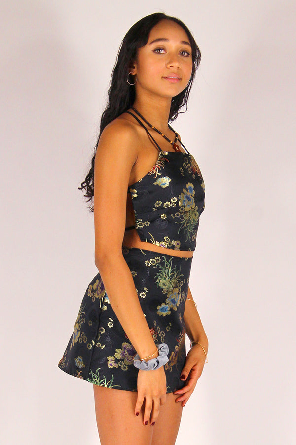 Backless Crop Top and Skirt - Black Satin with Flowers