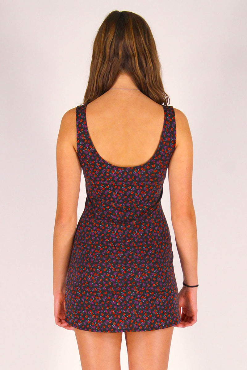 Tank Dress - Stretchy Black with Red Floral