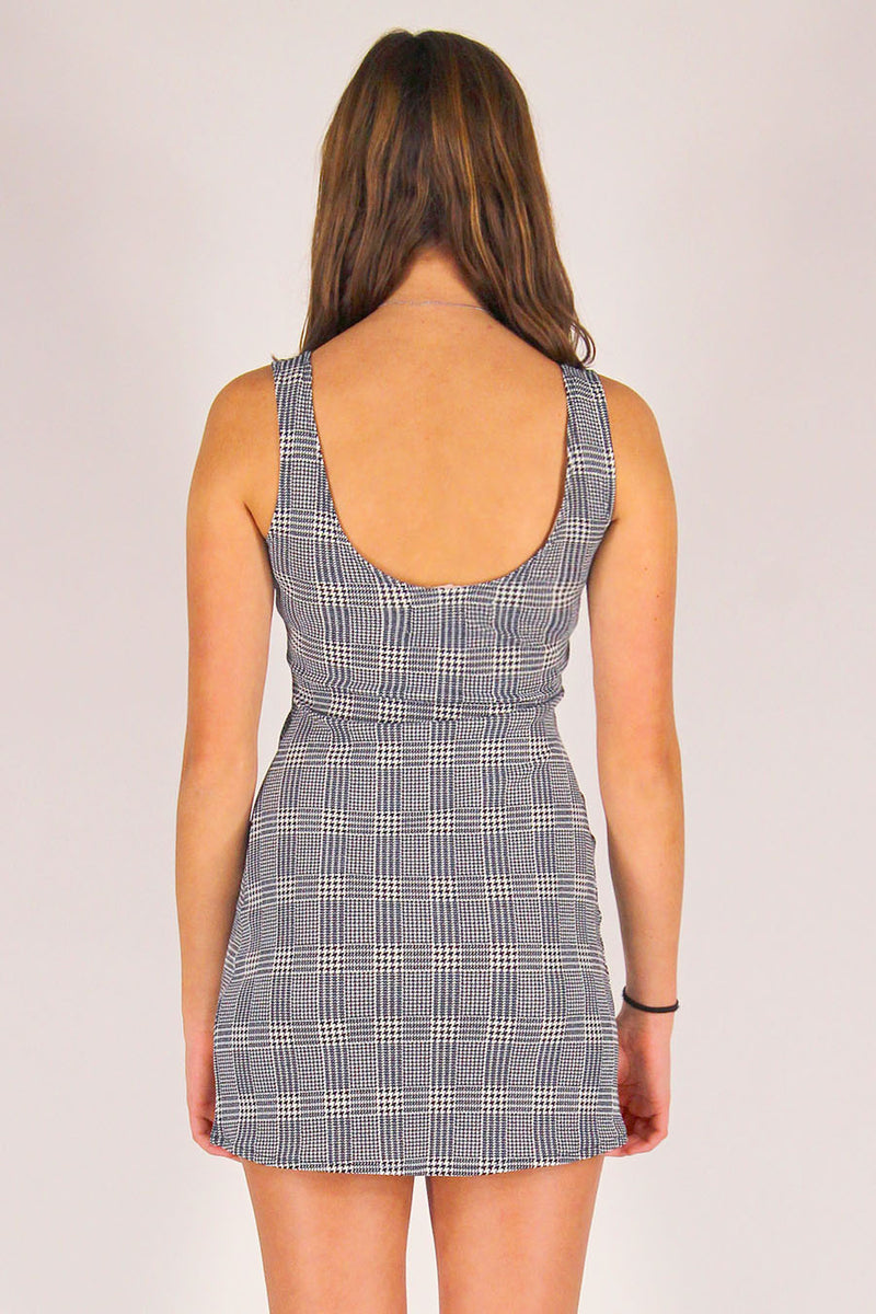 Tank Dress - Stretchy Grey Plaid