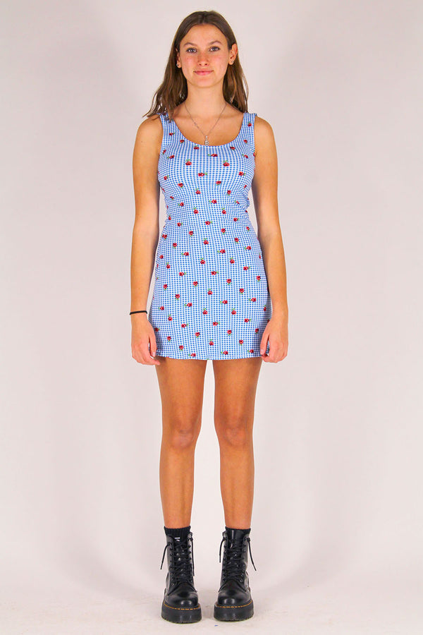 Tank Dress - Stretchy Blue Checker with Roses