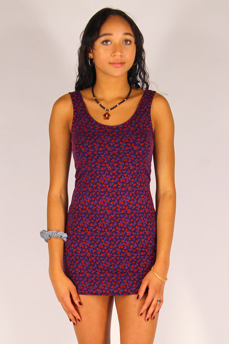 Tank Dress - Stretchy Purple with Red Floral
