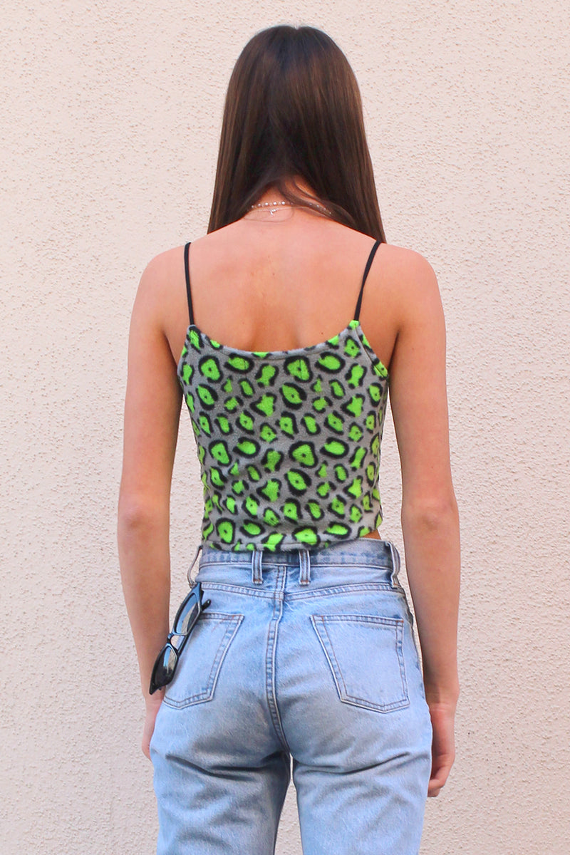 Cami Top - Green Leopard Print