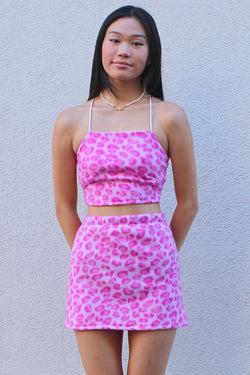Backless Crop Top and Skirt - Fleece with Pink Leopard Print