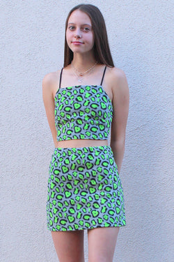 Backless Crop Top and Skirt - Fleece with Green Leopard Print