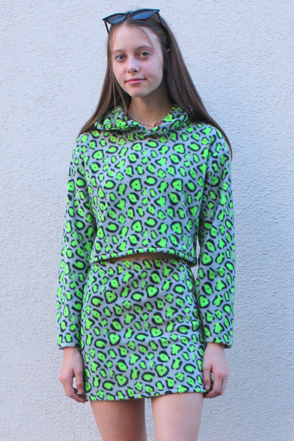 Hoodie and Skirt - Fleece with Green Leopard Print
