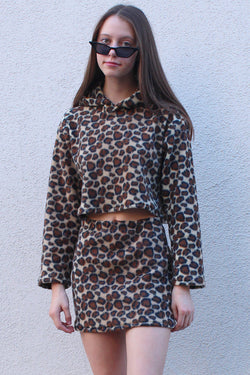 Hoodie and Skirt - Fleece with Leopard Print