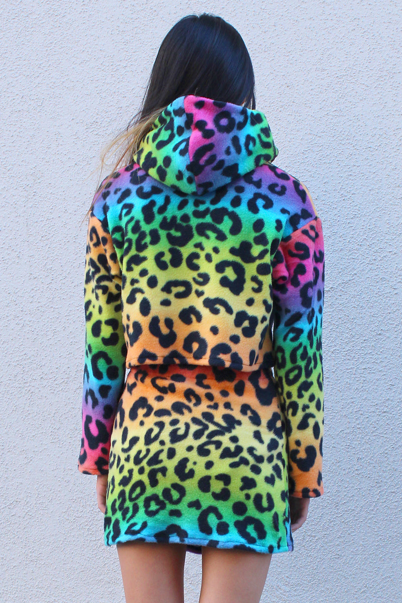 Hoodie - Fleece with Multi Color Leopard Print