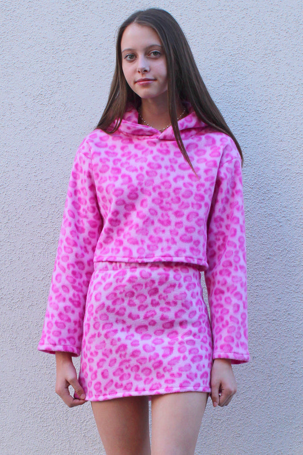 Hoodie - Fleece with Pink Leopard Print