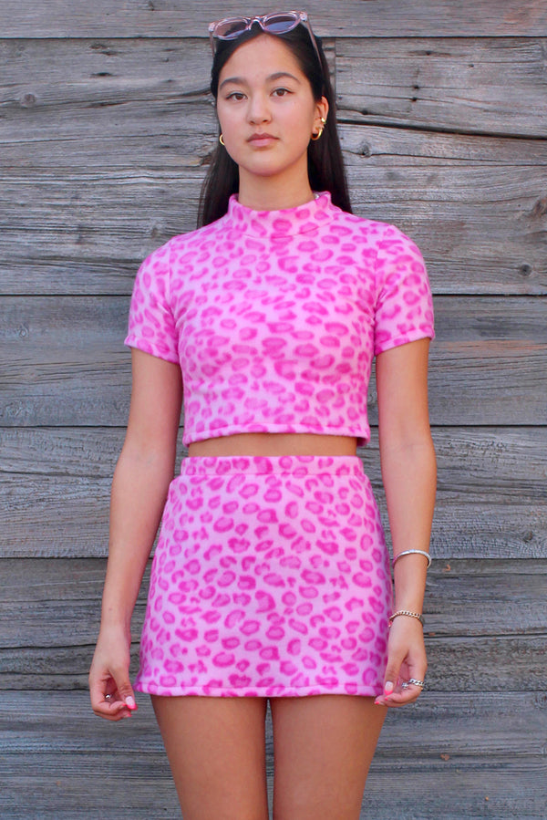 Turtle Neck Crop Top - Fleece with Pink Leopard Print