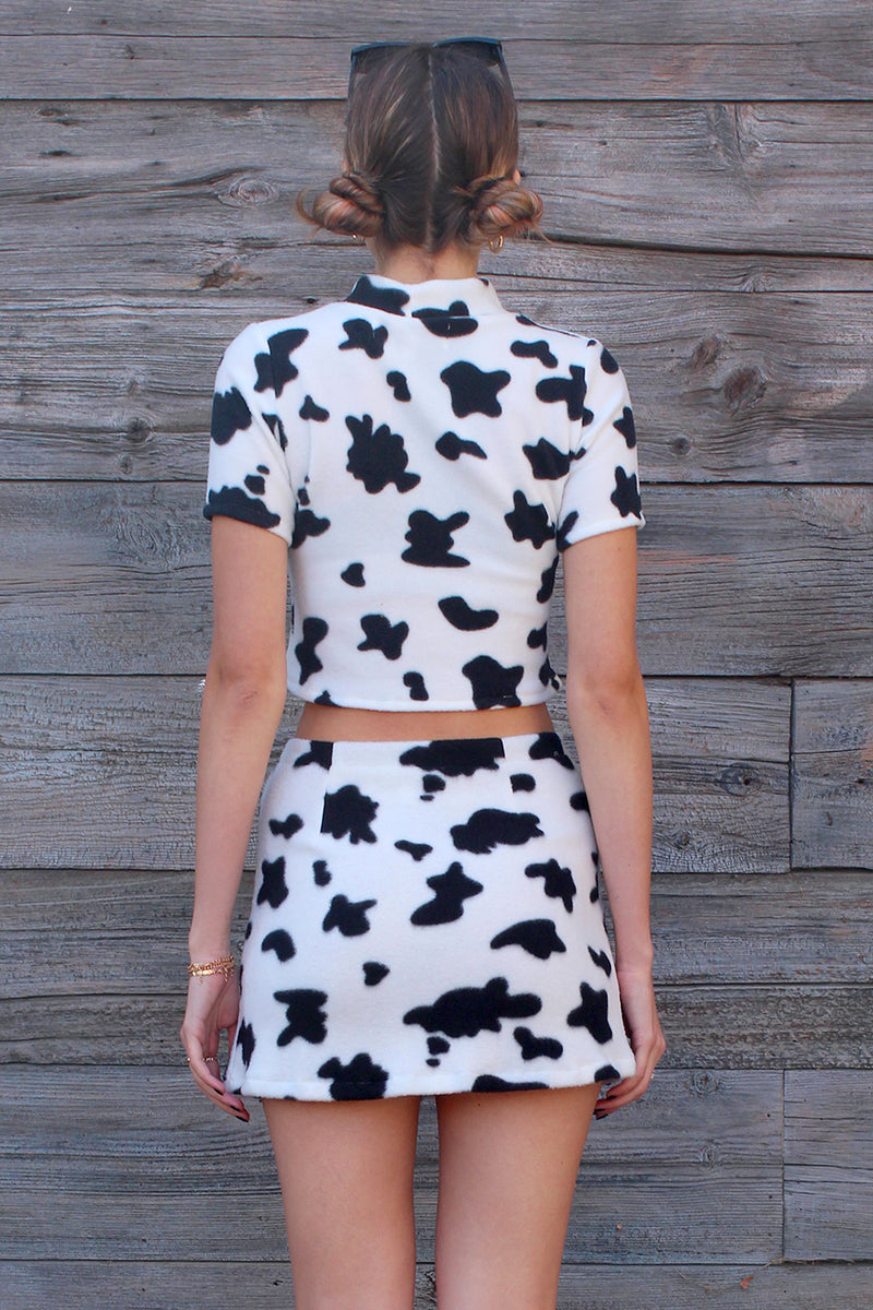 Turtle Neck Crop Top - Fleece with Cow Print