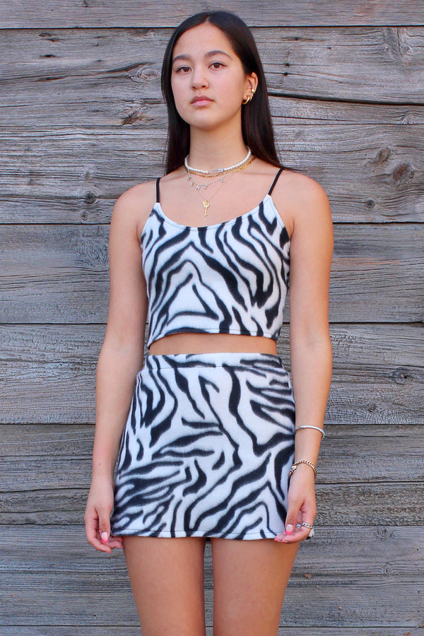 Cami Top and Skirt - Fleece with Zebra Print