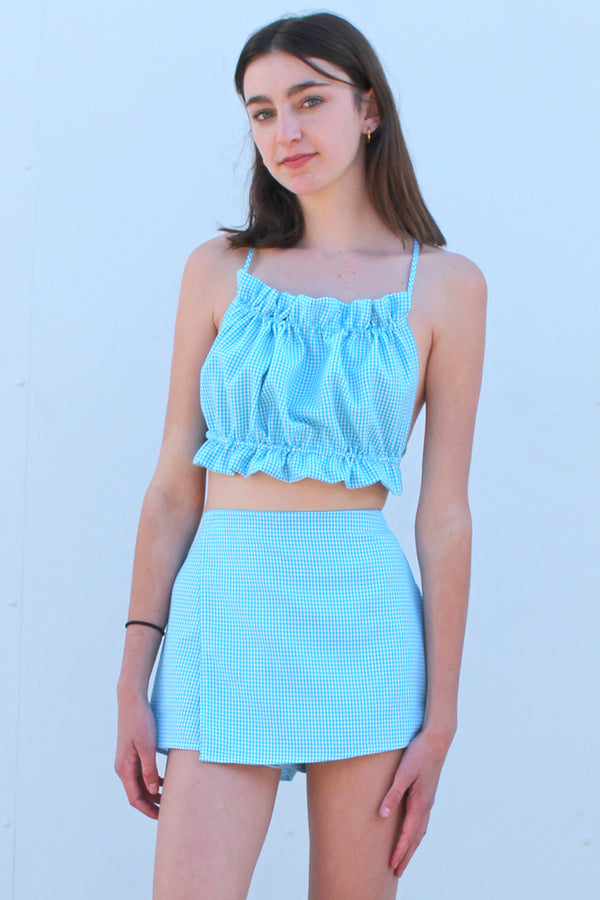 Backless Ruffle Top - Blue Gingham