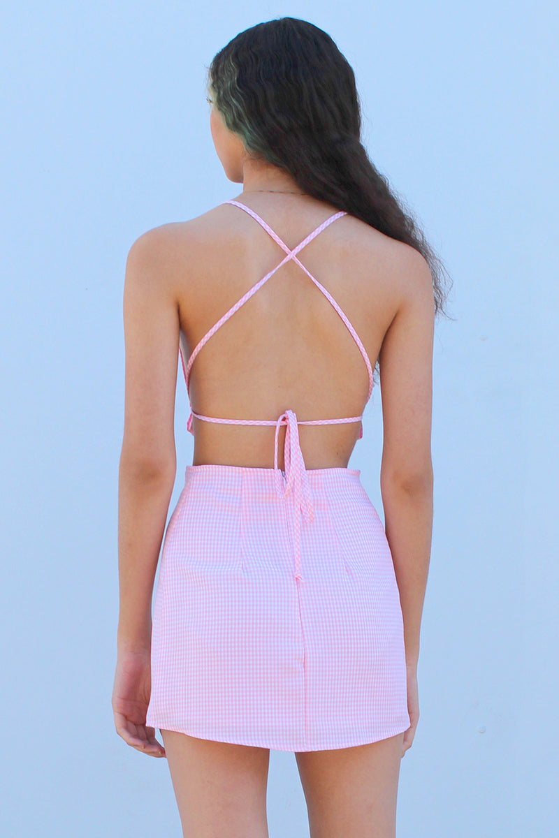 Backless Ruffle - Pink Gingham