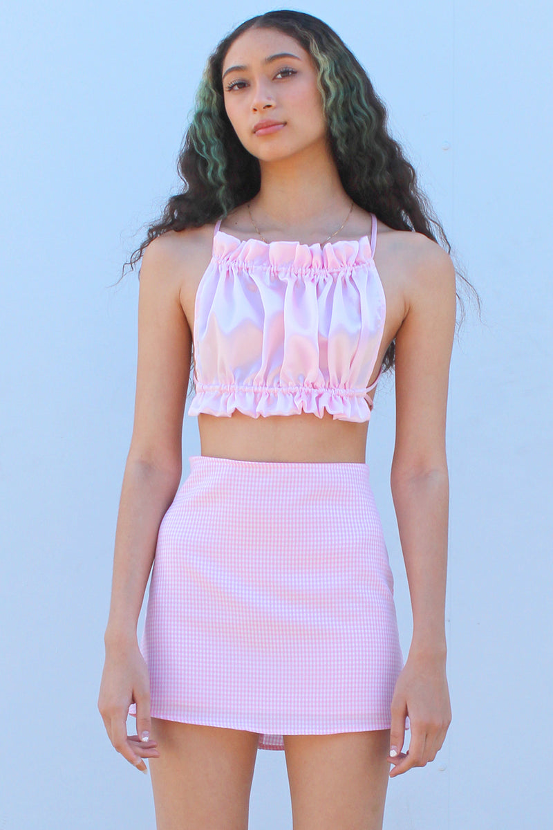 Backless Ruffle Top - Pink Satin