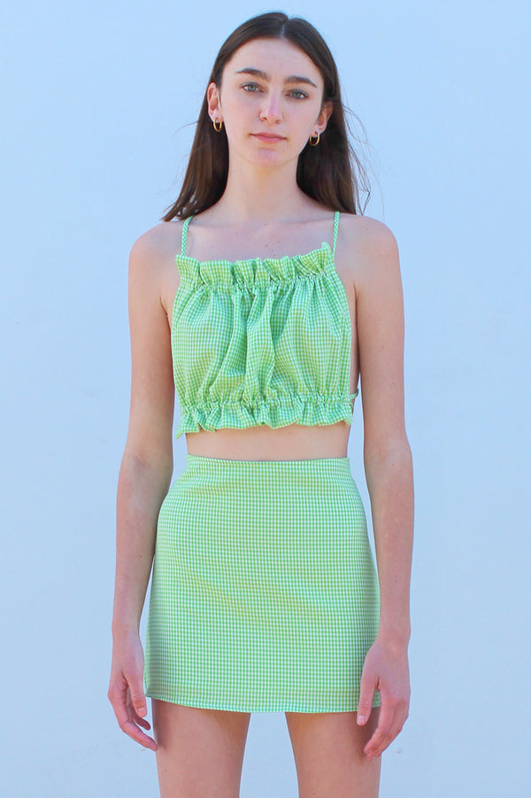 Backless Ruffle Top - Green Gingham