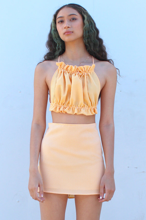 Backless Ruffle Top - Orange Gingham