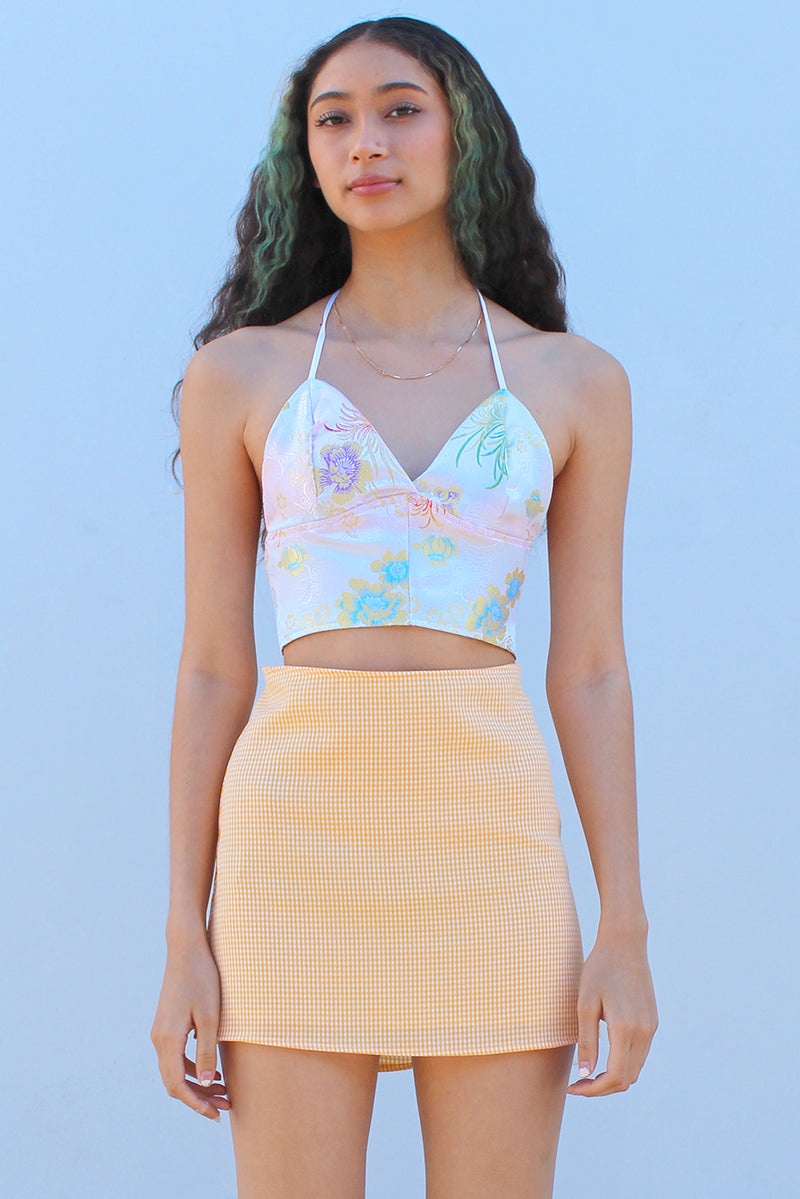 Bralette Crop Top - White Satin with Flowers