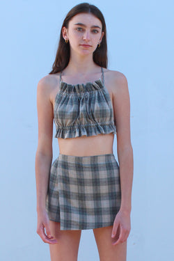 Backless Ruffle Top - Green Beige Plaid