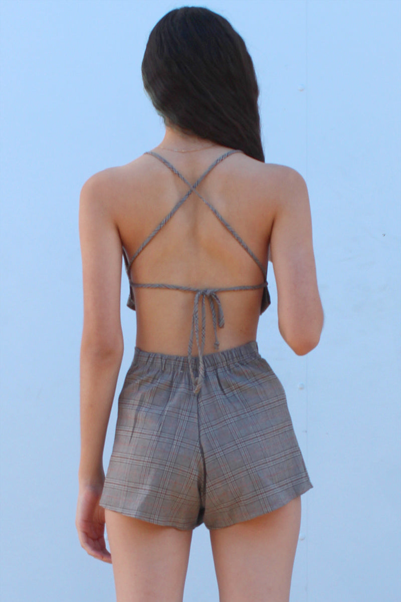 Backless Ruffle Top - Beige Plaid