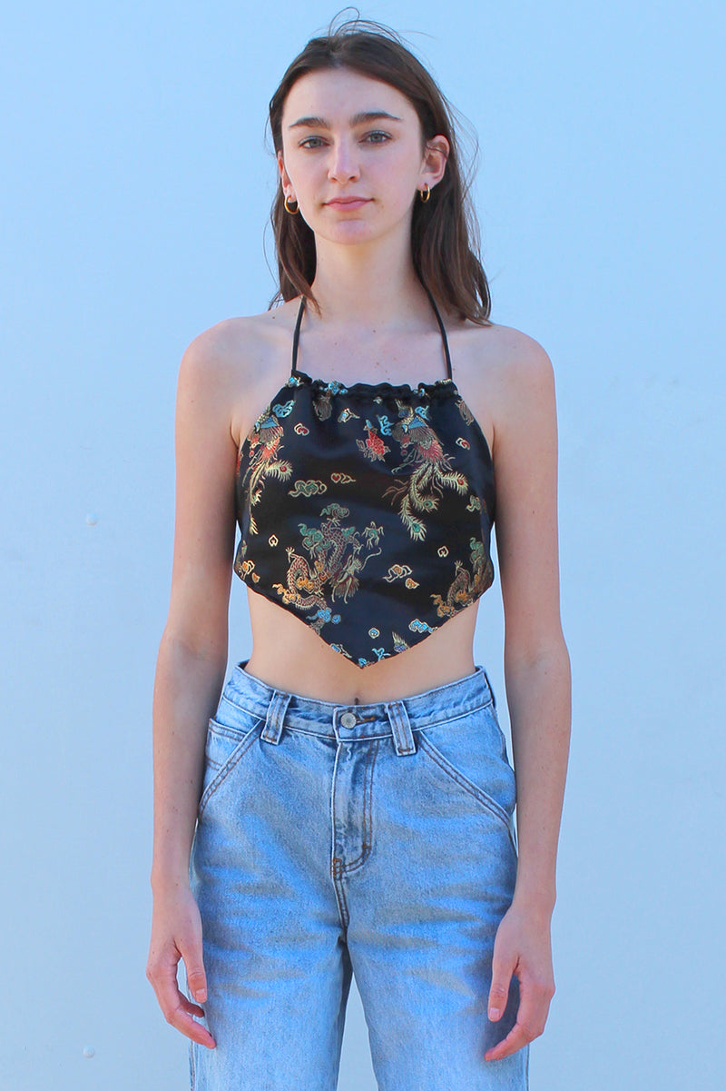 Backless Triangle Top - Black Satin with Flowers