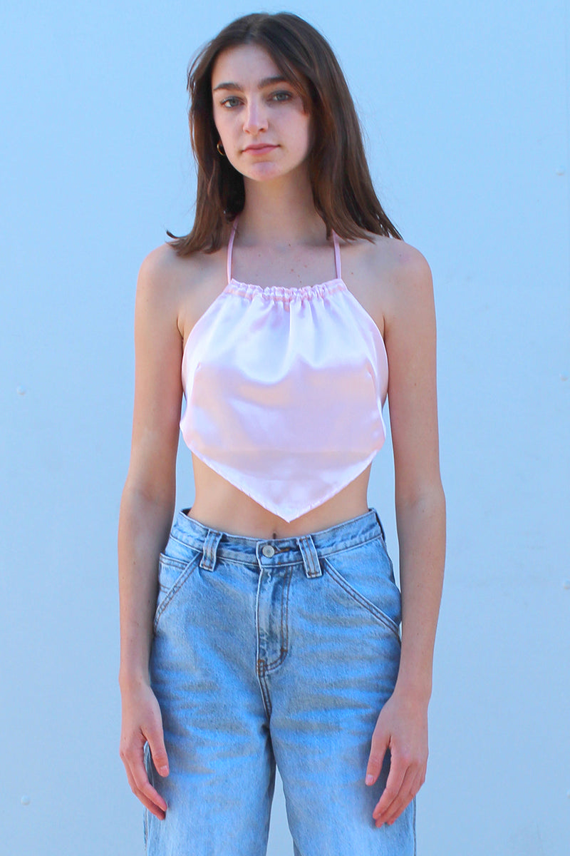 Backless Triangle Top - Pink Satin