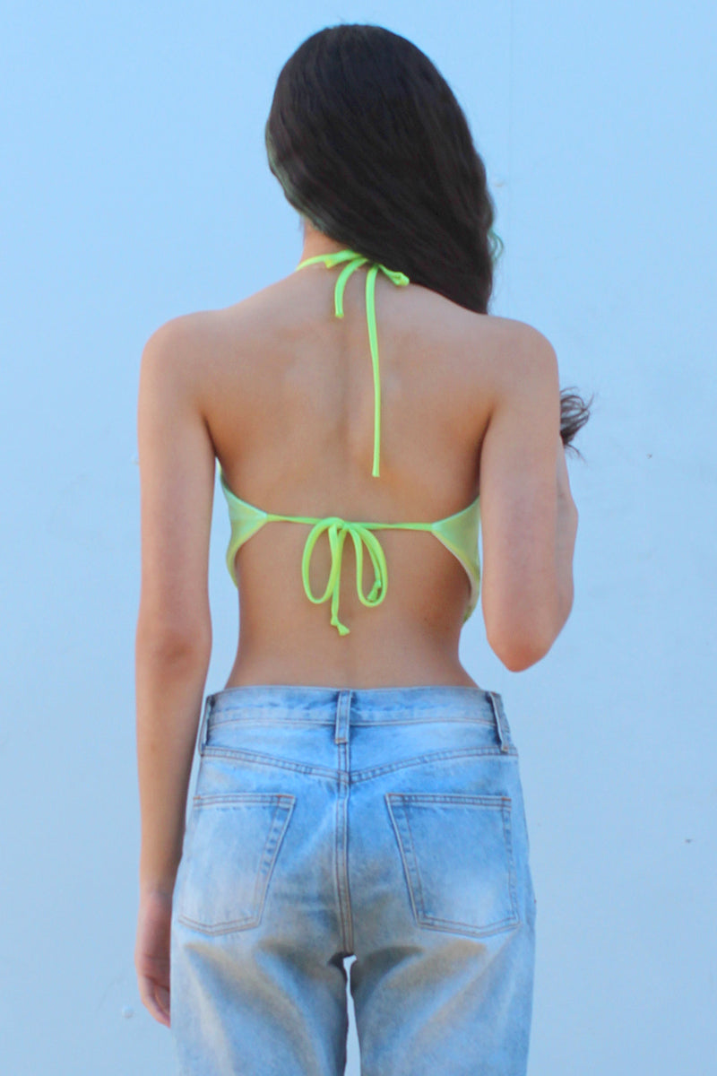 Backless Triangle Top - Lime Green Satin