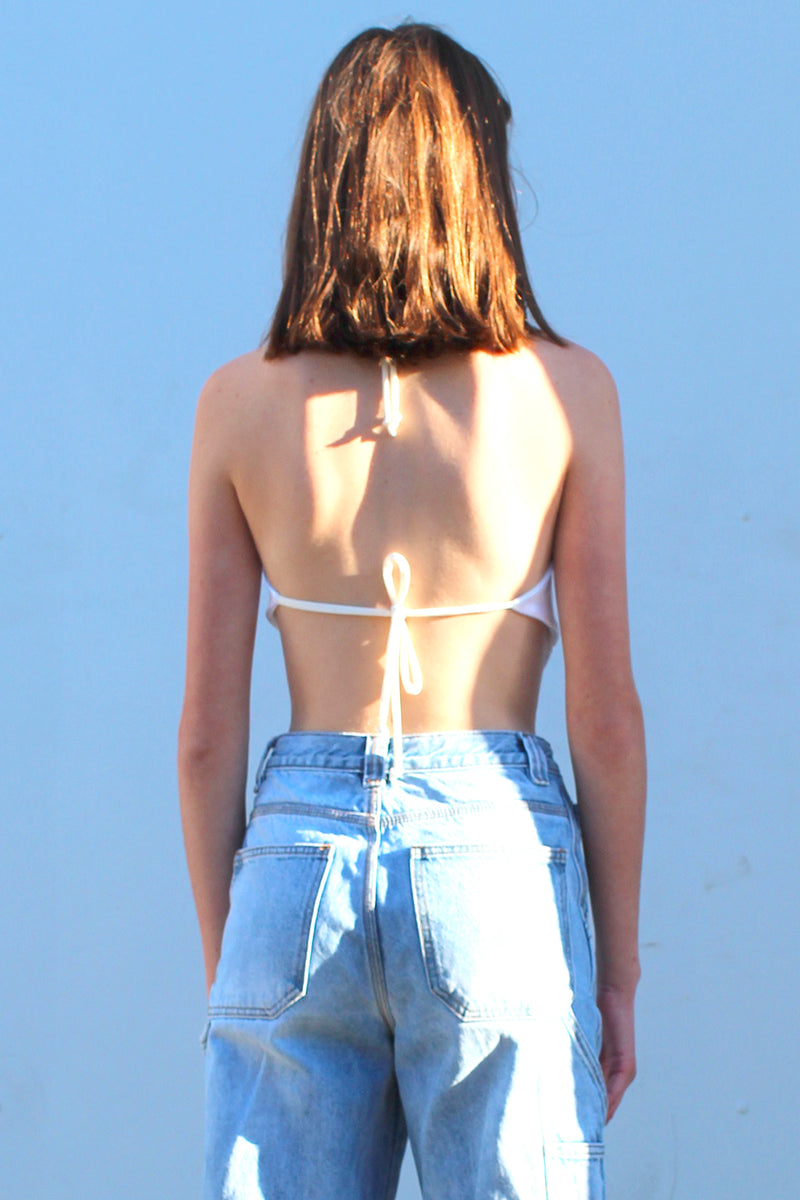 Backless Triangle Top - White Satin
