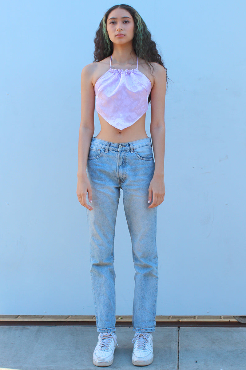 Backless Triangle Top - Lavender Satin with Flowers