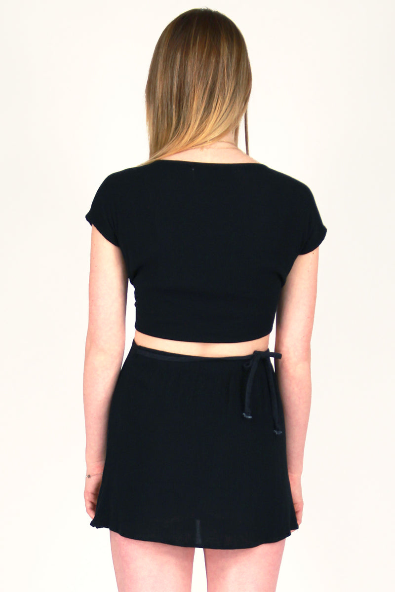 Front Tie Shirt and Wrap Skirt - Scrunchy Black