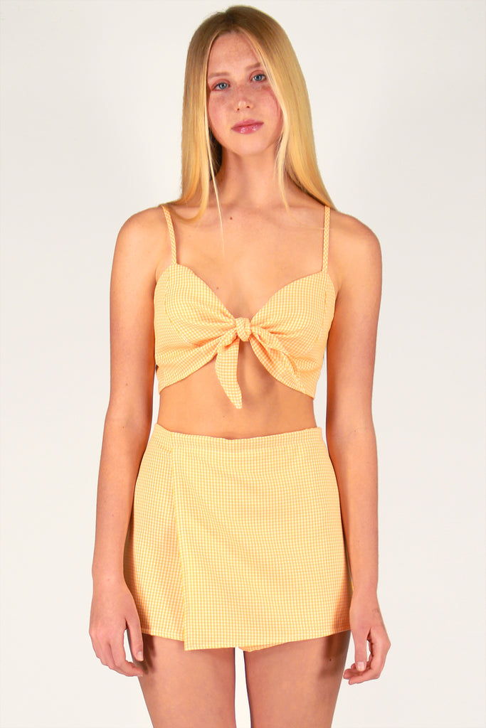 Front Tie Bralette and Skorts - Orange Gingham