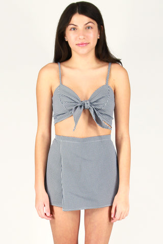 Front Tie Bralette and Skorts - Black and White Gingham