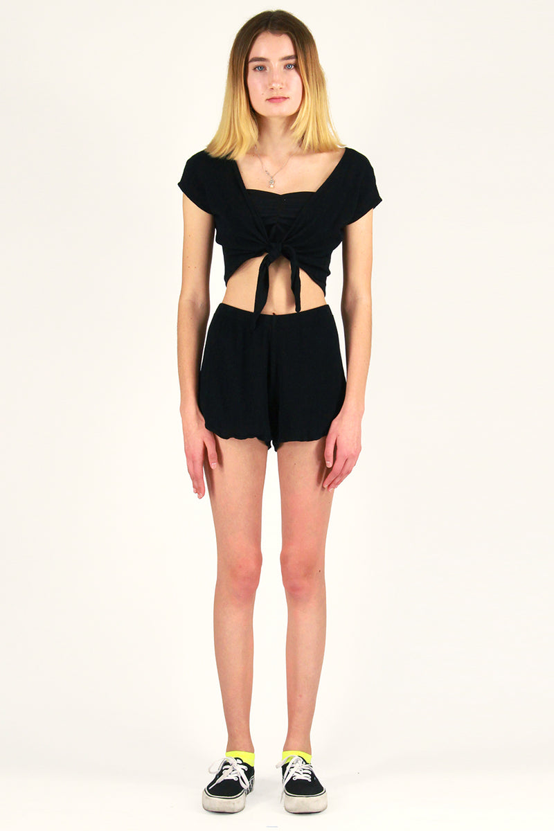 Front Tie Shirt and Shorts - Black Scrunchy