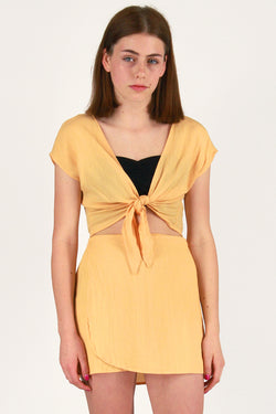 Front Tie Shirt and Wrap Skirt - Banana Scrunchy
