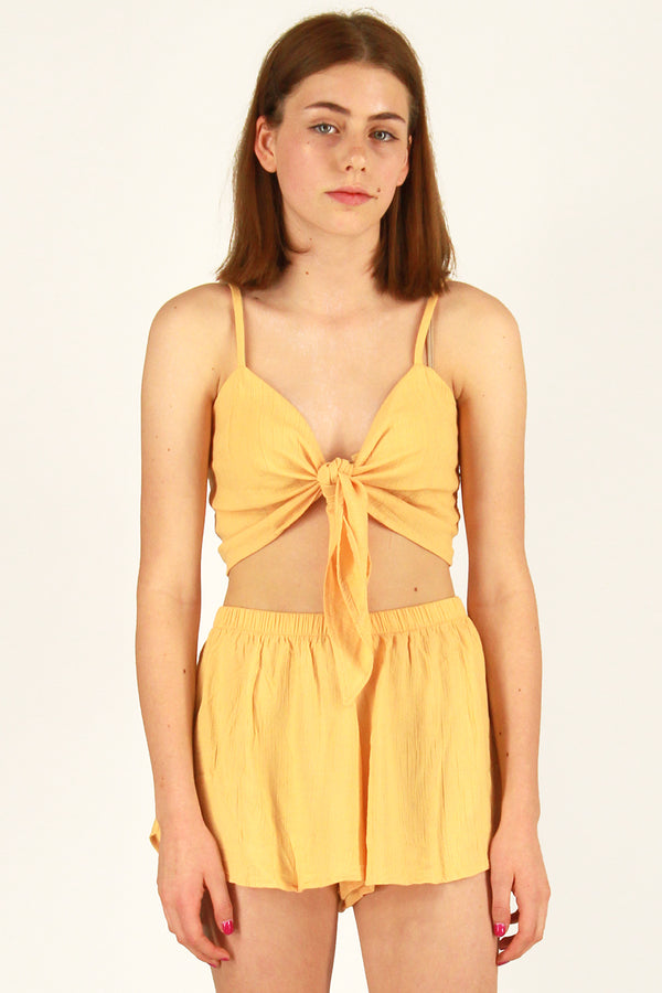 Front Tie Bralette and Shorts - Banana Scrunchy