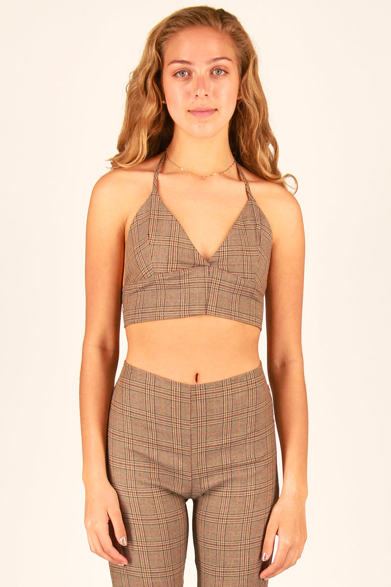 Halter Bralette and Pants - Beige Plaid