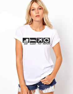 Camiseta Eat Sleep Fly and Repeat -Unisex T-shirt - Sky Crew PTY