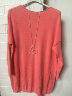 Coral fine knit with button back detail