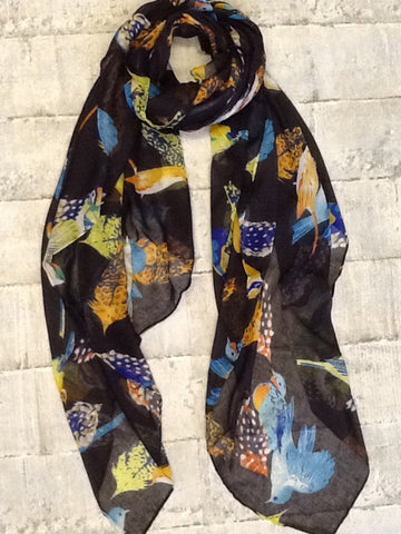 Black scarf with birds in lots of colours