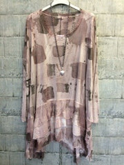 Pink grey silk mix tunic top with sequin ruffles