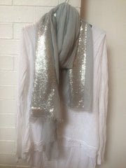 Grey scarf with silver sequin detail