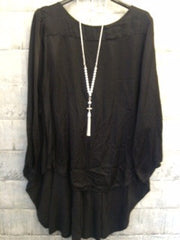 Black cotton mix tunic top with cut out back detail