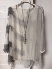 Cream and grey mark silk top with sequin shoulders